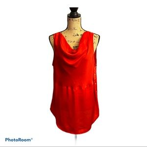 Ann Taylor Top Red Button Accent Draped Size 16